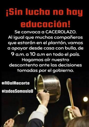 """""""Ohne Kampf keine Bildung"""": Protestaktion gegen die Kürzung der Budgets für Universitäten in Ecuador"""