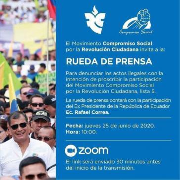 Einladung zur Pressekonferenz des Movimiento Compromiso Social por la Revolución Ciudadana
