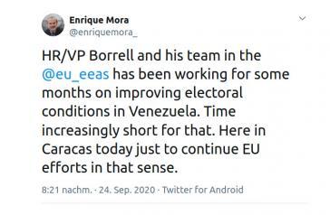 Borrell schickte seinen Stellvertreter Enrique Mora und den Leiter der Abteilung für Amerika, Javier Niño Pérez, nach Caracas