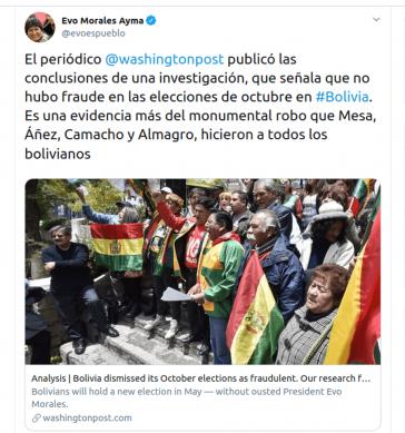 """Evo Morales sieht durch die Studie des Massachusetts Institute of Technology bestätigt, dass die Rechtsopposition und die OAS Bolivien seines Wahlsiegs """"beraubt"""" hätten"""
