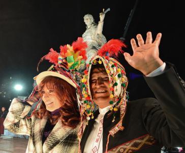 Evo Morales in Argentinien neben Cristina Kirchner