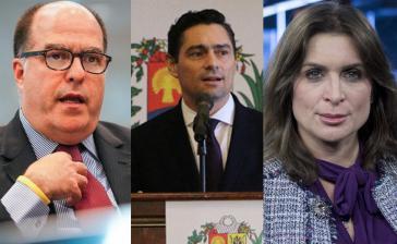 """Juan Guaidós """"Auslandskommissar"""" Julio Borges, der US-Vertreter Carlos Vecchio und die britische Vertreterin Vanessa Nuemann (von links nach rechts)"""