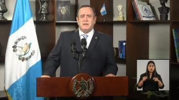 Guatemalas Präsident Giammattei bei seiner Ansprache am Sonntag