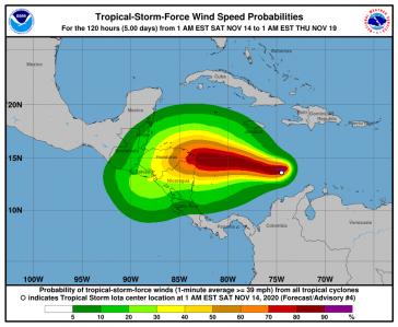 """Der Tropensturm """"Iota"""" nahm über der Karibik an Stärke zu und könnte Hurrikanstärke zwei bis drei erreichen"""