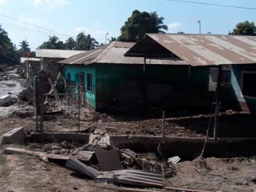 Durch die Fluten zerstörte Wohnviertel in der Nähe von La Lima im Department Cortés. Foto: Honduras Solidarity Network