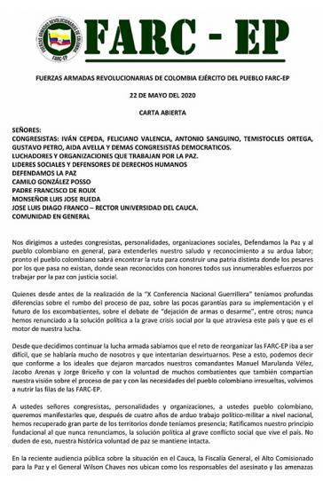 Offener Brief der Farc-EP