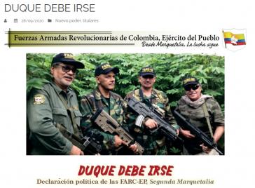Die Farc-EP, Zweites Marquetalia, meldete sich mit einer Erklärung zu Wort in der sie den Rücktritt von Präsident Duque fordert (Screenshot)