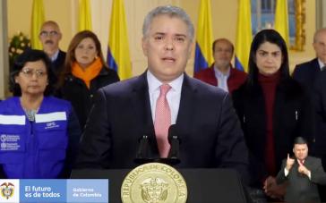 Quarantäne angeordnet: Kolumbiens Präsident Duque bei seiner Ansprache am Freitag (Screenshot)