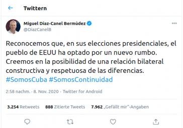 Tweet von Miguel Díaz-Canel
