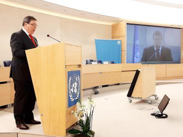 Scharfe kritik an der US-Politik: Kubas Außenminister Rodríguez bei seiner Ansprache in Genf am 25.Februar