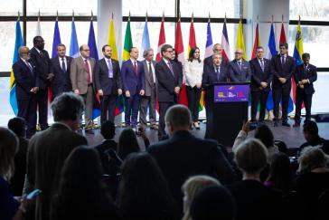 Vertreter der Lima-Gruppe vergangene Woche in Québec. Am Mikrophon Kanadas Außenminister François-Philippe Champagne