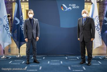 Der deutsche Außenminister Heiko Maas und der Hohe Vertreter der EU für Außen- und Sicherheitspolitik, Josep Borrell, bei der Lateinamerika-Konferenz in Berlin