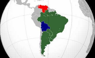 Aktueller Stand der Mitgliedschaften im Mercosur: Brasilien, Argentinien, Paraguay, Uruguay. Venezuela suspendiert und Bolivien mit Anwärterschaft.