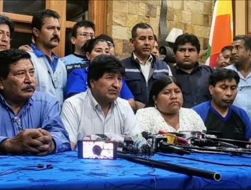 Evo Morales bei der Veranstaltung zur Wahl als neuer Vorsitzender der MAS