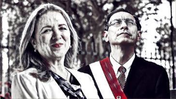 Die Präsidentin des Unternehmerverbandes, María Isabel León de Céspedes, und Staatspräsident Martín Vizcarra. Gewerkschaften kritisieren den Pakt zwischen Regierung und Unternehmern