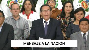 Präsident Vizcarra und sein Kabinett bei der Verkündung des nationalen Lockdown am 15. März