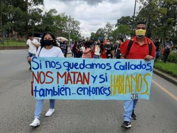 Proteste in den Straßen von Popayán (Cauca) gegen die Massaker und gegen die Verletzungen der Menschenrechte durch die Regierung