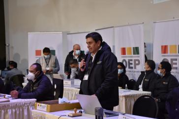 Der Präsident des Obersten Wahlgerichts, Salvador Romero, am Abend