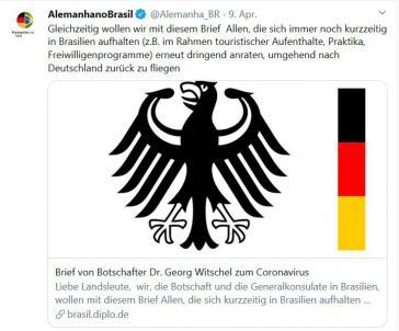 Botschafter Georg Witschel ruft Deutsche auf, Brasilien wegen des Coronavirus' zu verlassen.