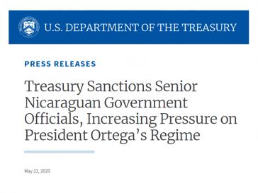 Das US-Büro für die Kontrolle ausländischer Vermögenswerte hat den Armeechef und den Finanzminister Nicaraguas sanktioniert