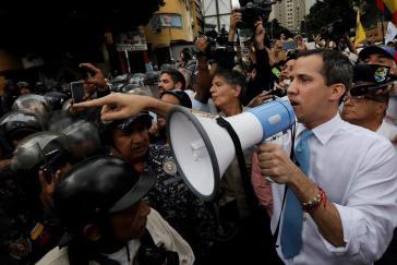 Guaidó bei der Demonstration am 10. März in Caracas