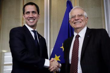 Guaidó und der EU-Außenbeaufragte Josep Borrell am Mittwoch in Brüssel