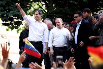 Guaidó bei der Kundgebung am Samstag in Caracas