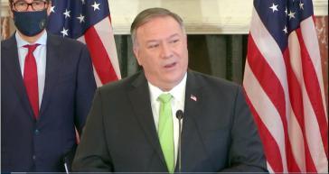 Pompeo bei der Bekanntgabe neuer Sanktionen gegen den Iran und Venezuela