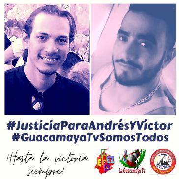 """""""Gerechtigkeit für Andrés und Víctor"""" fordern Angehörige, Kollegen von Guacamaya TV und politische Mitstreiter der beiden ermordeten Journalisten"""