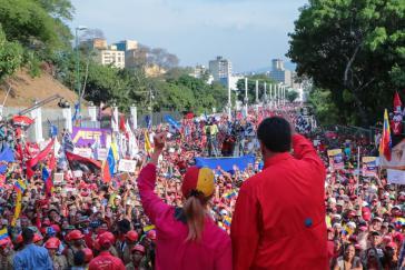 Präsident Maduro bei der Kundgebung in Caracas am 1. Mai 2019