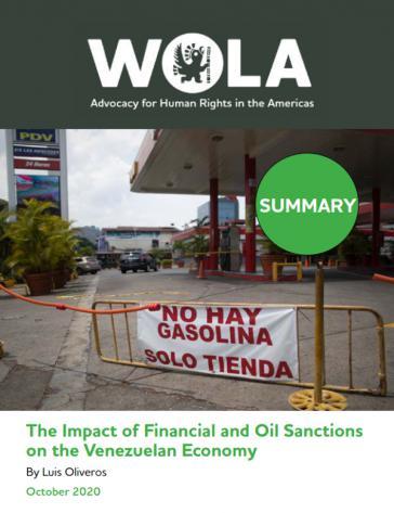 Die US-Sanktionen schaden vor allem den Ärmsten und sind politisch kontraproduktiv: Zu diesem Schluss kommt der Wola-Bericht (Deckblatt, Screenshot)