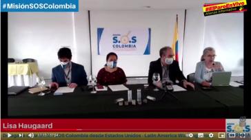 Die vier Vertreter:innen der Mission SOS Colombia auf der Pressekonferenz am 12. Juli.