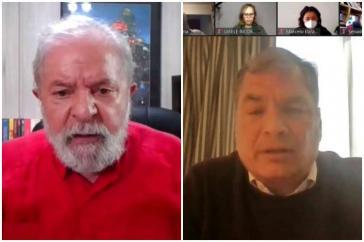 Die Ex-Präsidenten von Brasilien und Ecuador beim virtuellen Treffen der Puebla-Gruppe (Lula da Silva, links, und Rafael Correa, rechts)