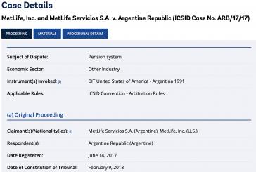 """Exemplarisch einige Details des Falls """"MetLife gegen Argentinien"""" vor dem Schiedsgericht wegen Investitionsstreitigkeiten der Weltbank (ICSID) (Screenshot)"""