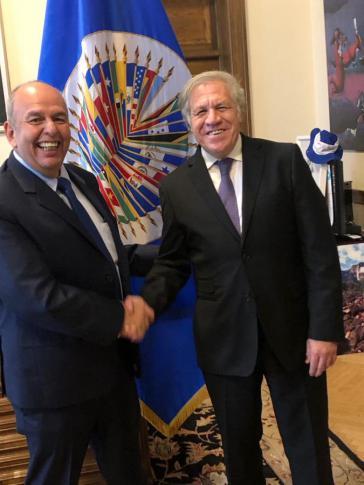 Almagro und der Innenminister von Boliviens Putsch-Regierung, Arturo Murillo (links), bei einem Treffen im Dezember 2019