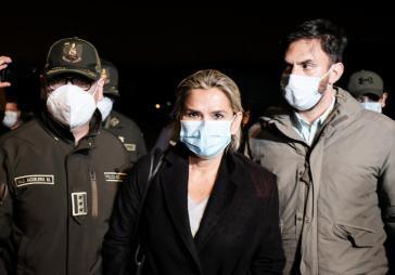 Jeanine Áñez bei ihrer Festnahme am 13. März 2021