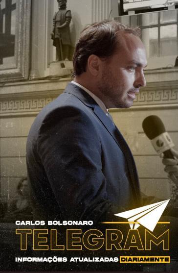 Carlos Bolsonaro macht Werbung für seinen Telegram-Kanal