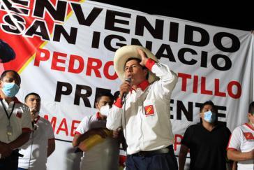 Pedro Castillo bei einem Wahlkampfauftritt am vergangenen Sonntag