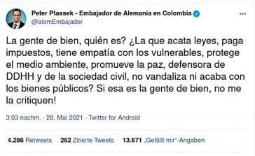 Ein Tweet des deutschen Botschafters, der Partei ergreift