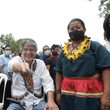 Kandidat Lasso beim Wahlkampfbesuch am 27. März in der Provinz Sucumbíos im Amazonasbecken