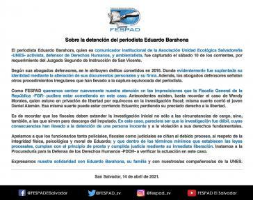 Menschenrechtsorganisation in El Salvador setzt sich für den Journalisten Eduardo Barahona ein