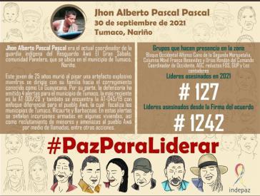 Unter dem Hashtag #PazParaLiderar macht das Institut Indepaz mit kleinen Aufklärungstafeln auf die Ermordeten aufmerksam