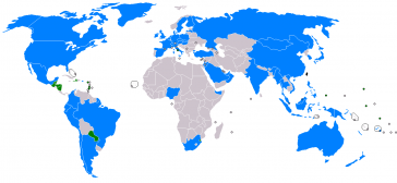 Internationale Beziehungen zu Taiwan. Grün für offizielle diplomatische Beziehungen, blau für nicht-offizielle, oft Handelsbeziehungen.