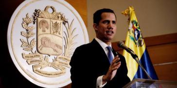 """Für die EU und die Bundesregierung nicht mehr """"Presidente (e)"""": Juan Guaidó, der sich vor zwei Jahren selbst zum """"verantwortlichen Präsidenten"""" (encargado) ernannt hatte"""