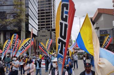 Demonstration in Bogotá am 28. September. Die Central Unitaria de Trabajadores hatte mit zum Streik aufgerufen