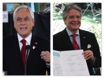 Zwei aktuelle Präsidenten, die wegen der Pandora Papers nun einiges zu erklären haben: Sebastián Piñera (Chile, links) und Guillermo Lasso (Ecuador)