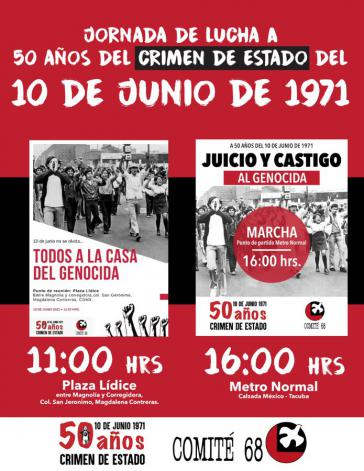 """Plakat des Comité 68 zum """"Kampftag"""" anlässlich 50 Jahre des Staatsverbrechens"""
