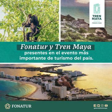 Fonatur-Werbung für das Tren Maya-Projekt bei der größten Tourismumesse Mexikos, Tianguis Turístico