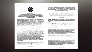 Ein Ausschnitt der jüngst veröffentlichen US-Liste mit korrupten zentralamerikanischen Politikern