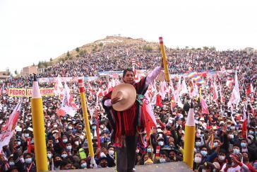Pedro Castillo bei einer Wahlkampfveranstaltung
